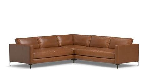 pottery barn l shaped couch jake leather 3 piece l shaped sectional pottery barn