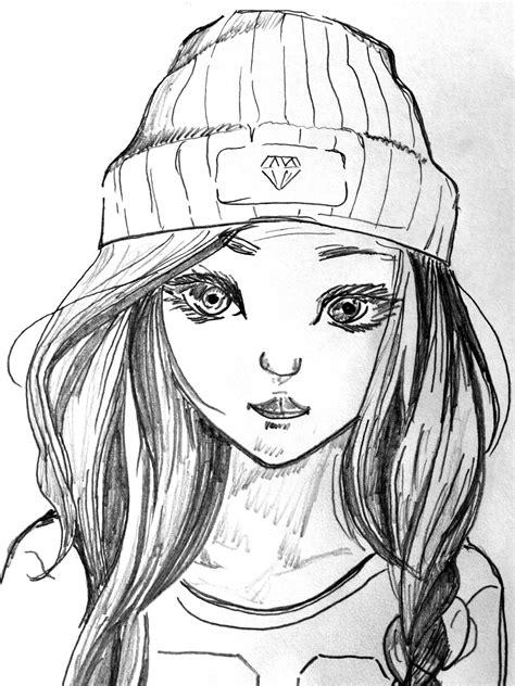 Topi Anime Hitam gambar hitam dan putih gadis muda satu warna karya