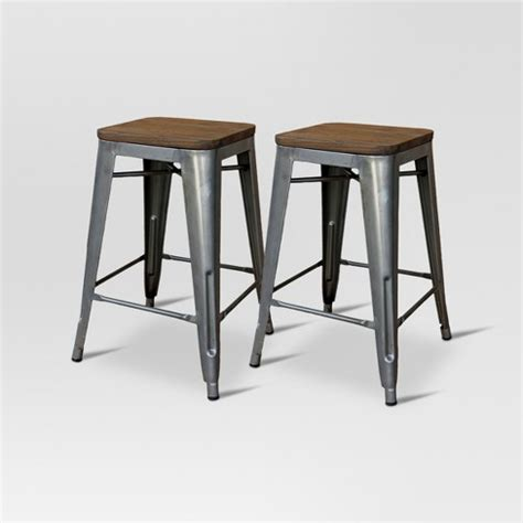 Industrial Metal Counter Stools by Hden Industrial Wood Top 24 Quot Counter Stool Metal
