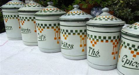 set of 3 vintage 1920 s enamel kitchen canisters made in set of 6 vintage french kitchen storage jars enamel