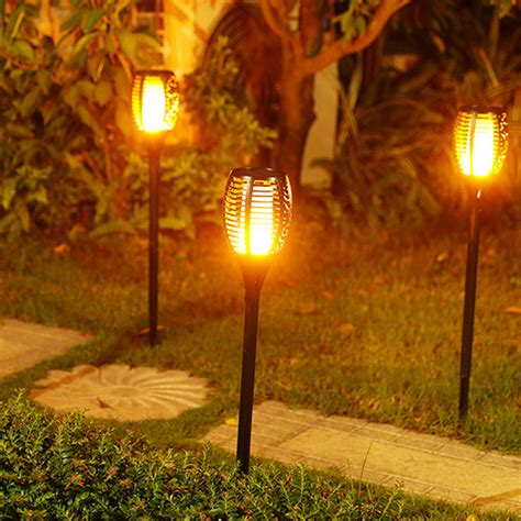 Patio Torch Lights Solar Tiki Torch Lights Led Garden Waterproof Outdoor Courtyard L Flickering 96