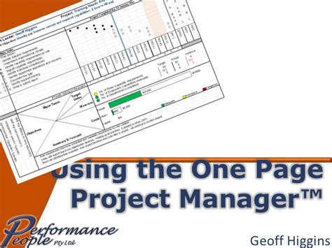 Using The One Page Project Manager One Page Project Manager Template