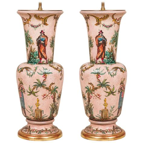 Pair Oo Decoupage Vase Ls At 1stdibs
