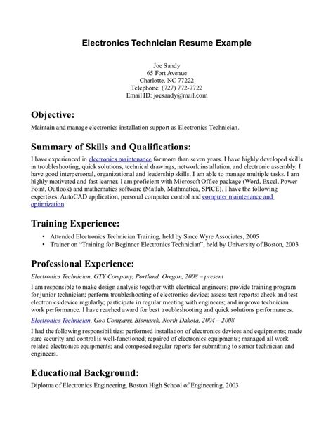 Resume Template Electronics Technician electronic technician resume resume ideas