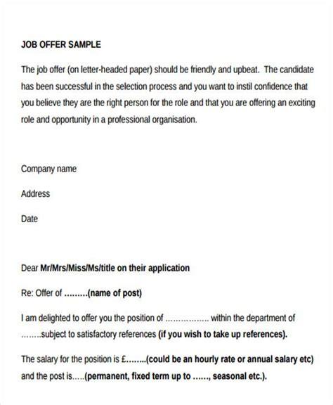 offer letter sle employment offer letter sle uk 28 images rejection
