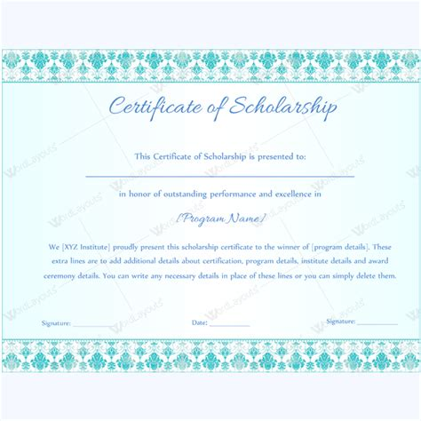 scholarship certificate certificate of scholarship 09 word layouts