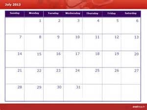 Calendar July 2013 Template Calendar July 2013 Rm Easilearn Us