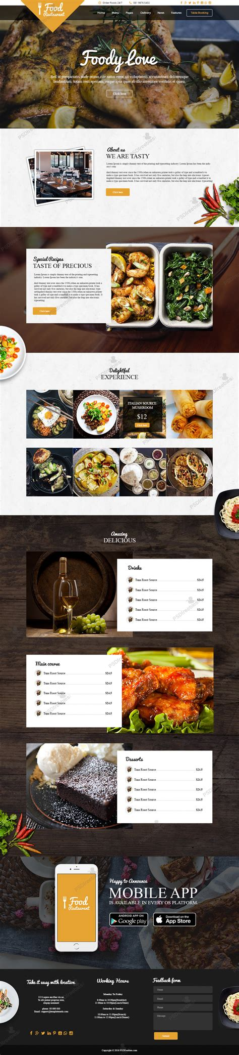 food template psd food and restaurant website free psd template
