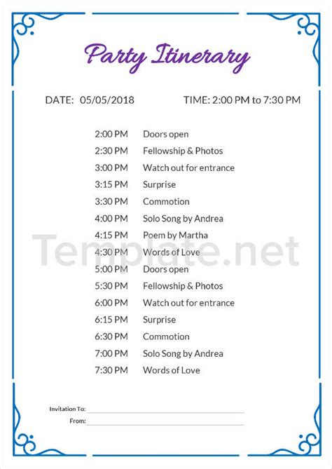 14 Itinerary Templates Free Premium Templates Event Itinerary Template