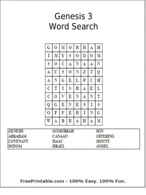 printable word search on the bible 6 best images of genesis bible word searches printable
