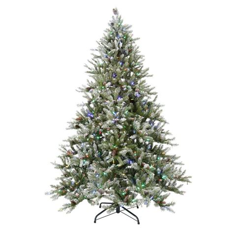 Led 7 Color Light Pine Tree With Sensor national tree company 7 5 ft led pre lit snowy pine artificial tree with pine cones