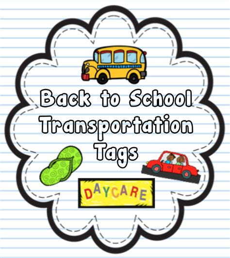 Thehappyteacher Back To School Transportation Tags Car Rider Tags Template