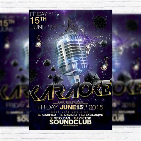 karaoke premium flyer template facebook cover