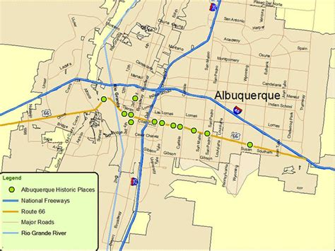 albuquerque map map of albuquerque route a discover our shared heritage travel itinerary
