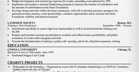 Fundraising Resume by Fundraiser Resume Resume Sles Across All Industries