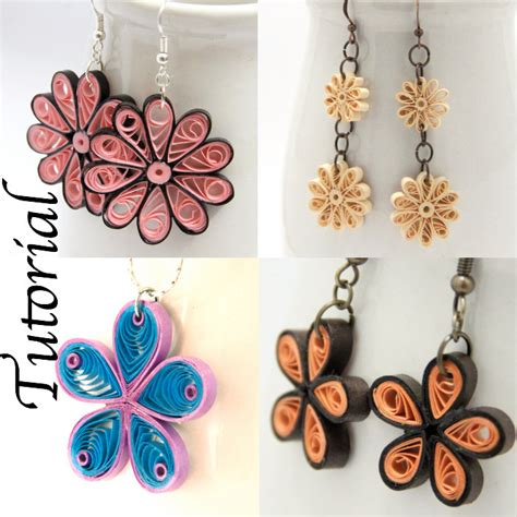 Paper Jewellery Tutorials - tutorial for paper quilled jewelry pdf flower earrings and