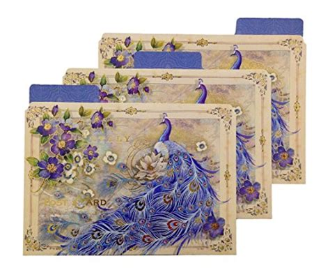 Decorative File Folders Blue And Gold Peacock Decorative File Folders Set Of 12