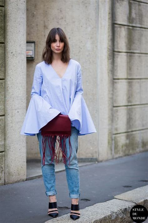 Pastel Bell Top trend big sleeves irina lakicevic wearing a pastel blue
