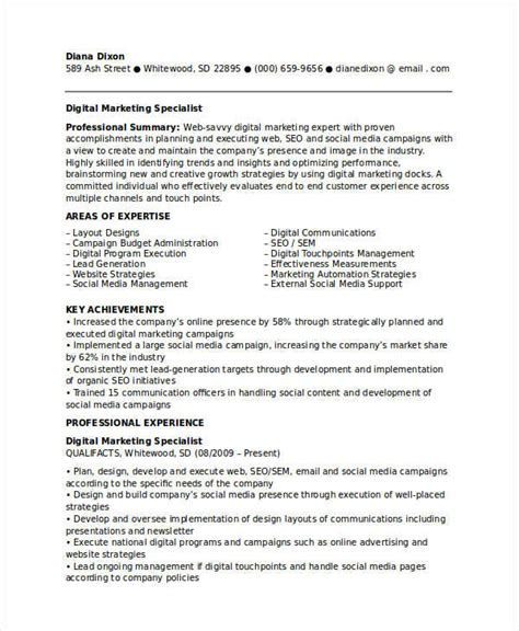 Marketing Specialist Resume by Marketing Resume Exles 47 Free Word Pdf Documents
