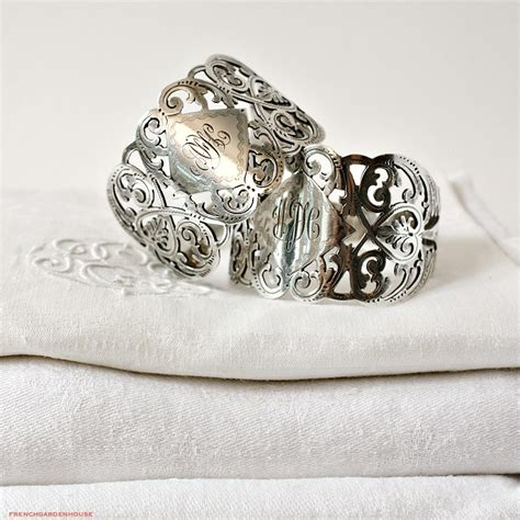 antique sterling silver monogram filigree napkin ring set of 2