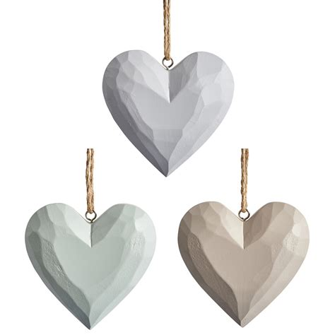 wooden hand carved heart decorations