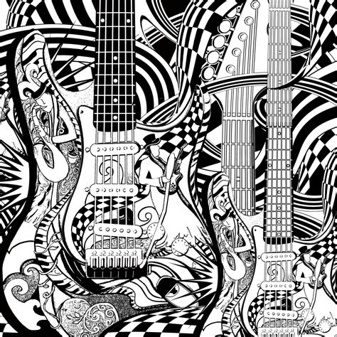 guitar coloring pages for adults adult coloring page printable guitar coloring pages