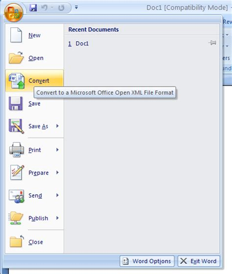 tutorial microsoft excel 2007 doc convert a word 97 2003 document to word 2007 document