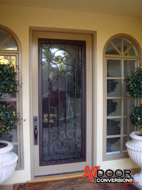 Wrought Iron Door Insert Cassela Design Hinged Glass W Front Door Screen Insert