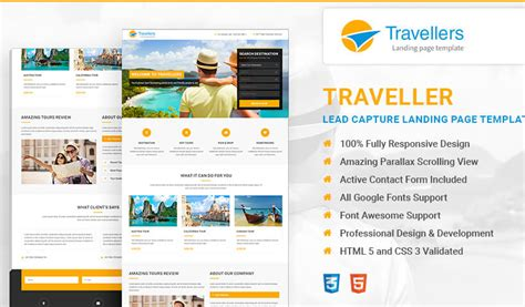 Travel Landing Page Template Html Lead Generating Template Olanding Lead Landing Page Template