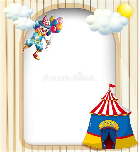 circus tent card template a template with a clown and a circus tent stock vector