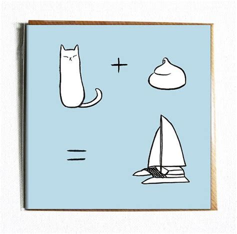 catamaran gift card cat meringue catamaran cute and funny illustrated