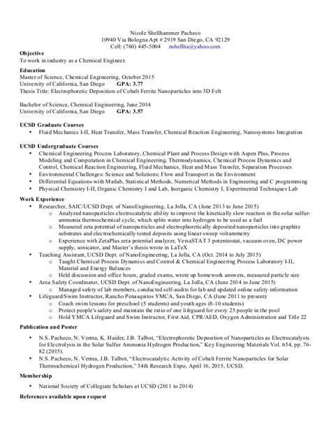 Chemical Engineer Sle Resume by Chemistry Resume Sle 28 Images Resume Sle For Chemistry 28 Images Analytical Chemist