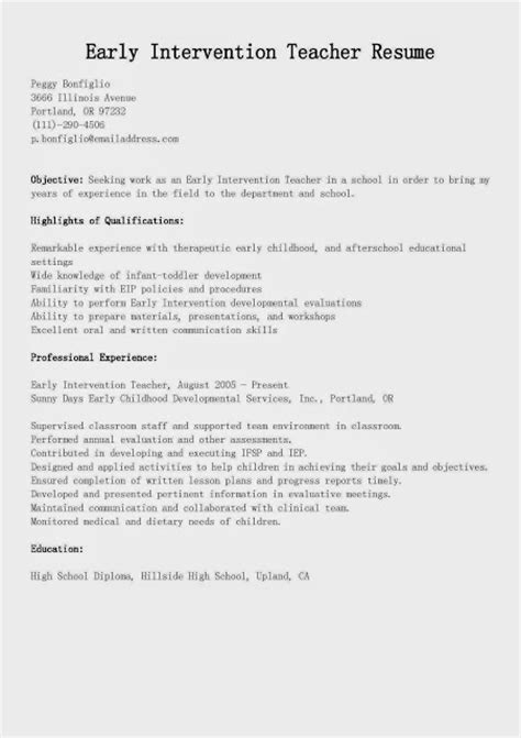 Cover Letter For Intervention Great Sle Resume Resume Sles Early Intervention Resume Sle