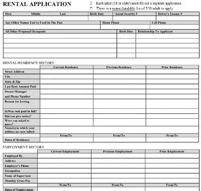 printable sample rental application template form real estate