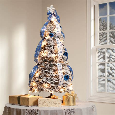 xmas trees frosted pull up 3 snow frosted spruce prelit pull up tree by peak walter