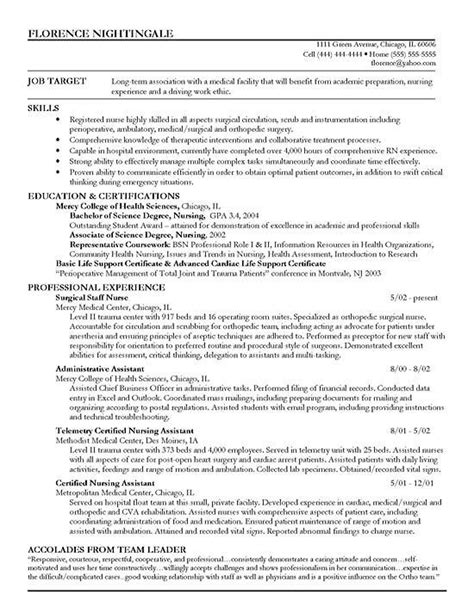 resume format nursing staff resume exle sle resume registered