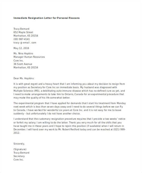 Resignation Letter Personal Reasons Immediate 49 Resignation Letter Exles
