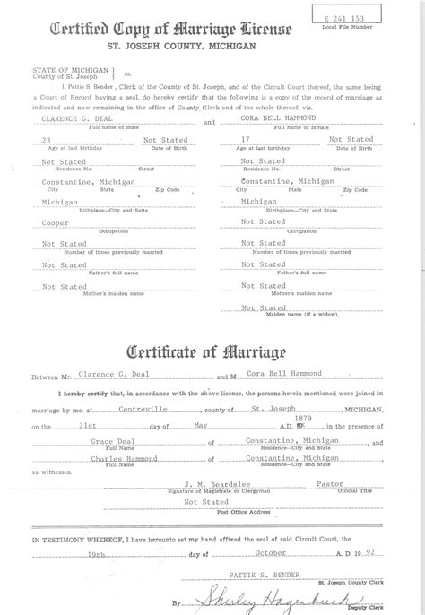 St Joseph County Marriage Records Deal Clarence Gerald Sources
