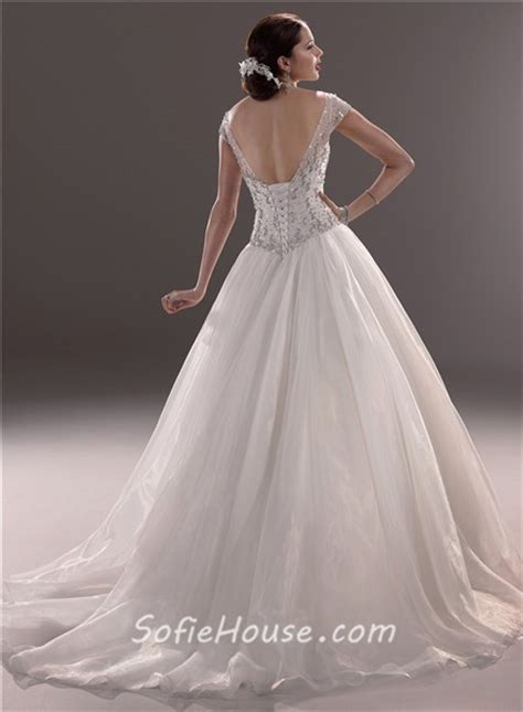 beaded cap sleeve gown classic gown illusion neckline cap sleeve tulle