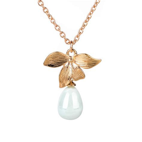 Pearl Flower Fashion new fashion gold plated orchid flower necklace chain