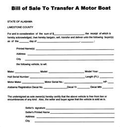 boat bill of sale template sle boat bill of sale template 8 free documents in