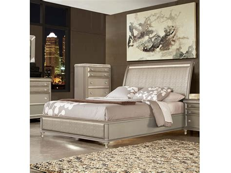 silver leather headboard platinum silver leather e king panel bed shop for