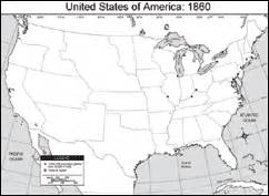 united states of america 1860 blank map