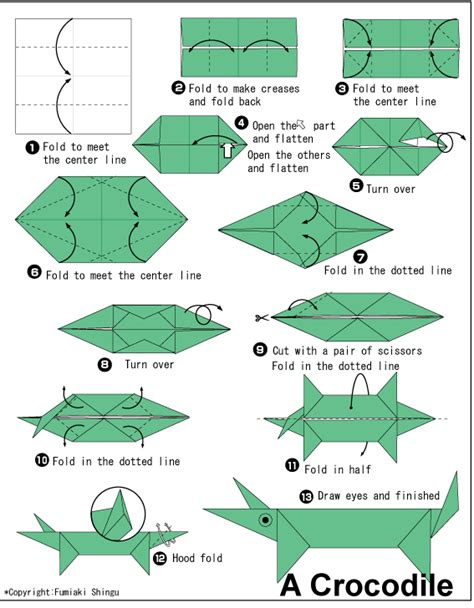 Alligator Origami - crocodile easy origami for