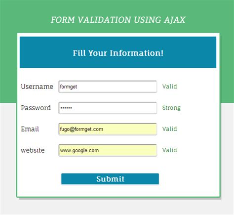 form validation using ajax formget