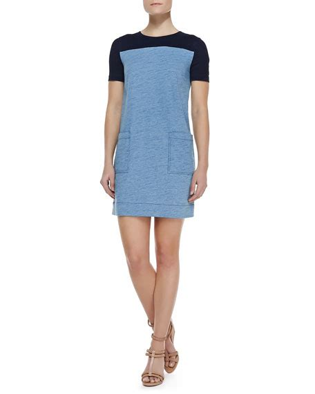 Two Tone Sleeve Dress marc by marc two tone jersey knit sleeve dress