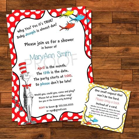 3x3 Shower Insert Dr Suess Baby Shower Invitations 5x7 With 3x3 Insert