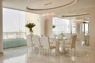 luxury penthouse dining room with marble floors