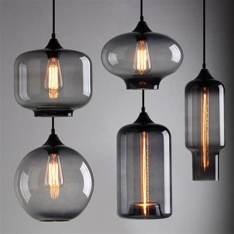 industrial glass pendant lights modern industrial smoky grey glass shade loft cafe pendant