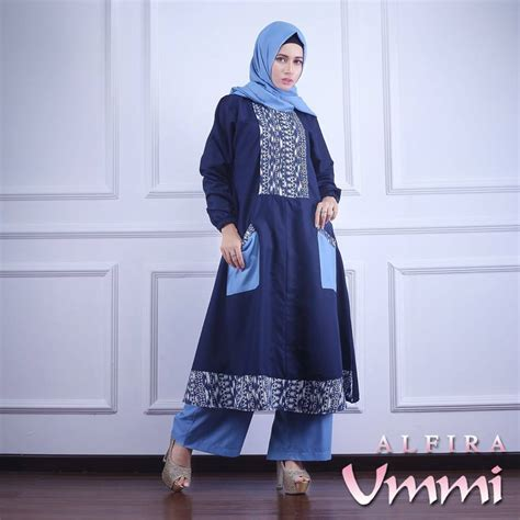 Gamis Alfira alfira navy baju muslim gamis modern